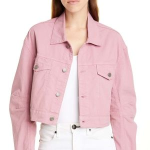 NWT GRLFRND Pink Lacy Crop Denim Jacket, Large